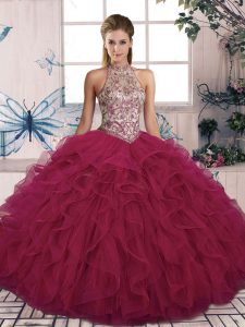 Beautiful Ball Gowns Vestidos de Quinceanera Burgundy Halter Top Tulle Sleeveless Floor Length Lace Up