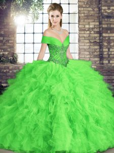 Inexpensive Sleeveless Floor Length Beading and Ruffles Lace Up Quinceanera Gown
