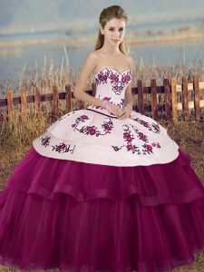 Decent Sleeveless Lace Up Floor Length Embroidery and Bowknot Quinceanera Gowns