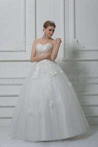 Dramatic Sleeveless Lace Up Floor Length Beading and Appliques Wedding Dress