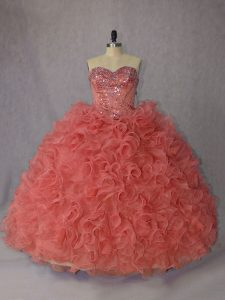 Great Organza Sleeveless 15 Quinceanera Dress Brush Train and Beading and Ruffles