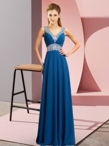 Blue Empire Chiffon V-neck Sleeveless Beading Floor Length Lace Up Prom Evening Gown
