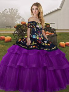 Black And Purple Tulle Lace Up Off The Shoulder Sleeveless Ball Gown Prom Dress Brush Train Embroidery and Ruffled Layers