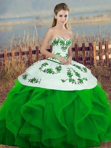 Unique Green Ball Gowns Sweetheart Sleeveless Tulle Floor Length Lace Up Embroidery and Ruffles and Bowknot Quinceanera Gown