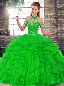 Green Sleeveless Beading and Ruffles Floor Length Ball Gown Prom Dress