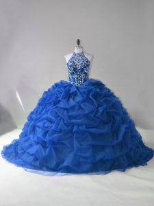 Adorable Blue Sleeveless Court Train Beading and Pick Ups Quinceanera Dress