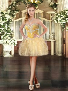 Gold Sleeveless Beading and Ruffles Mini Length Prom Dress