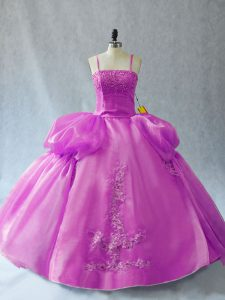 High Class Sleeveless Floor Length Appliques Lace Up Vestidos de Quinceanera with Lilac