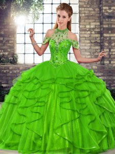 Perfect Green Quinceanera Dress Military Ball and Sweet 16 and Quinceanera with Beading and Ruffles Halter Top Sleeveless Lace Up