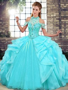 Adorable Ball Gowns Quinceanera Dress Aqua Blue Halter Top Organza Sleeveless Floor Length Lace Up