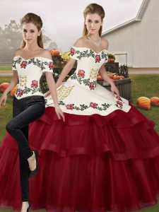 Wine Red Sweet 16 Dresses Tulle Brush Train Sleeveless Embroidery and Ruffled Layers
