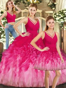 V-neck Sleeveless Tulle 15 Quinceanera Dress Ruffles Backless