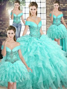 Aqua Blue Quinceanera Gown Off The Shoulder Sleeveless Brush Train Lace Up