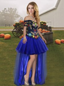 Off The Shoulder Sleeveless Tulle Dress for Prom Embroidery Lace Up
