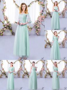 Light Blue Half Sleeves Tulle Side Zipper Bridesmaid Gown for Wedding Party