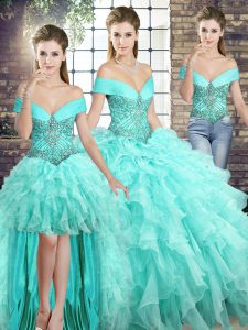 Aqua Blue Organza Lace Up Quinceanera Gowns Sleeveless Brush Train Beading and Ruffles