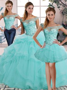 Noble Floor Length Aqua Blue Quinceanera Gown Off The Shoulder Sleeveless Lace Up
