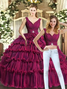 Decent Burgundy Sleeveless Organza Backless Ball Gown Prom Dress for Sweet 16 and Quinceanera