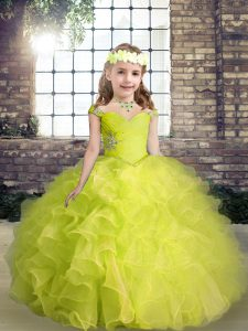 Nice Ball Gowns Winning Pageant Gowns Yellow Green Straps Organza Sleeveless Floor Length Lace Up