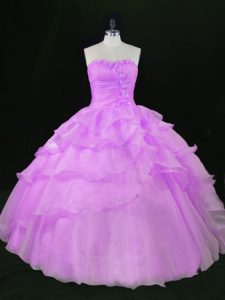 Beautiful Lavender Sweetheart Neckline Beading and Ruffles Quinceanera Gown Sleeveless Lace Up