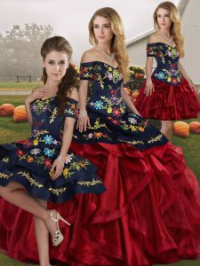 Delicate Organza Sleeveless Floor Length 15 Quinceanera Dress and Embroidery and Ruffles