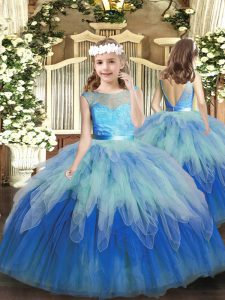 New Arrival Floor Length Multi-color Pageant Dress for Girls Tulle Sleeveless Lace and Ruffles