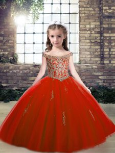 Red Ball Gowns Tulle Off The Shoulder Sleeveless Beading and Appliques Floor Length Lace Up Pageant Gowns
