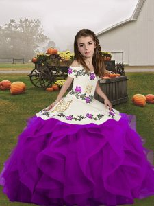 Eye-catching Purple Sleeveless Embroidery and Ruffles Floor Length Pageant Dress Toddler