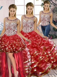 Scoop Sleeveless Organza Quinceanera Dress Beading and Ruffles Lace Up