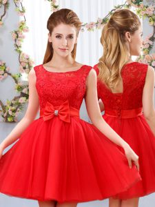 Exquisite Scoop Sleeveless Court Dresses for Sweet 16 Mini Length Lace and Bowknot Red Tulle