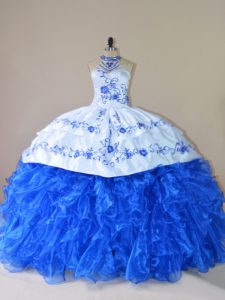 Admirable Halter Top Sleeveless Quinceanera Gowns Court Train Embroidery and Ruffles Royal Blue Organza