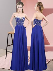 Shining Royal Blue Prom Party Dress Prom and Party with Beading Sweetheart Sleeveless Zipper