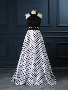 Popular White And Black Evening Dress Printed Sleeveless Lace