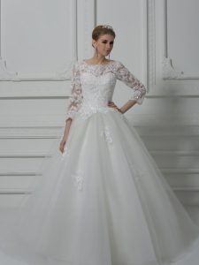Luxury Scoop 3 4 Length Sleeve Wedding Gown Brush Train Beading and Lace White Tulle