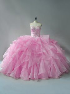 Baby Pink Organza Lace Up Sweetheart Sleeveless Quinceanera Dress Beading and Ruffles
