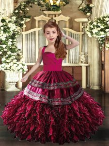 Hot Pink and Fuchsia Sleeveless Floor Length Appliques and Ruffles Lace Up Pageant Dress Wholesale