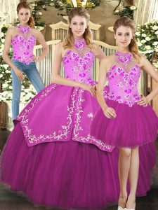 Fuchsia Three Pieces Embroidery Quinceanera Gown Lace Up Satin and Tulle Sleeveless Floor Length