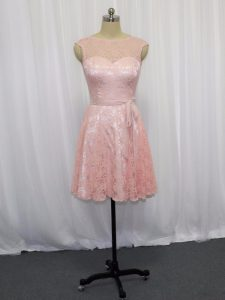 Captivating Pink and Baby Pink Sleeveless Beading and Lace Mini Length Evening Dress