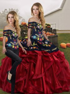 Deluxe Red And Black Sleeveless Organza Lace Up Ball Gown Prom Dress for Military Ball and Sweet 16 and Quinceanera