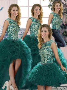 Hot Selling Peacock Green Ball Gowns Scoop Sleeveless Organza Floor Length Lace Up Beading and Ruffles Quince Ball Gowns
