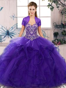 Fitting Purple Sleeveless Floor Length Beading and Ruffles Lace Up Quinceanera Dresses