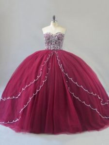 Sleeveless Brush Train Beading Lace Up Sweet 16 Dress