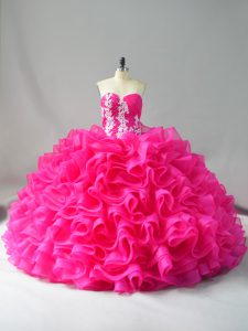 Custom Fit Hot Pink Sleeveless Appliques and Ruffles Lace Up Quinceanera Gown