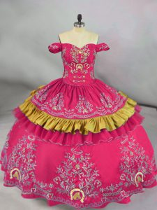 Floor Length Lace Up Quinceanera Dresses Hot Pink for Sweet 16 and Quinceanera with Embroidery