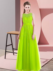 Yellow Green Scoop Side Zipper Beading Evening Dress Sleeveless