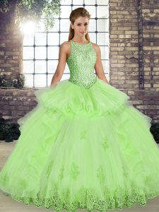 Hot Selling Yellow Green Ball Gowns Tulle Scoop Sleeveless Lace and Embroidery and Ruffles Floor Length Lace Up Sweet 16 Quinceanera Dress