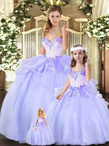 Fantastic Lavender Lace Up 15th Birthday Dress Beading and Ruffles Sleeveless Floor Length