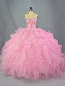 Deluxe Pink Lace Up Sweetheart Beading and Ruffles Vestidos de Quinceanera Organza Sleeveless
