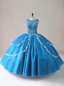 Sophisticated Scoop Sleeveless Quinceanera Gown Floor Length Beading and Appliques Baby Blue Tulle