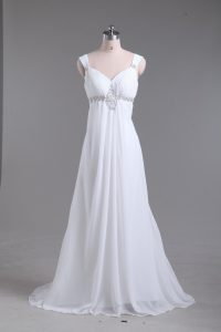 White Lace Up Straps Beading Wedding Gowns Chiffon Sleeveless Sweep Train